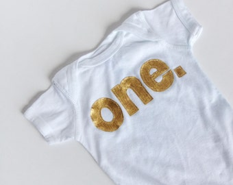 First Birthday Gold Sparkle ONE Bodysuit