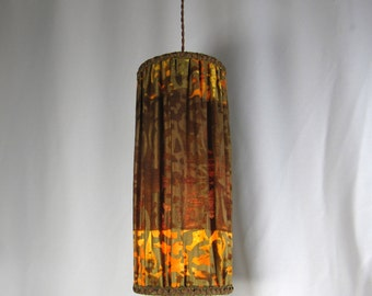 Lamp Shade Pendant Table Cylinder Painted Pleated Fabric Custom Hand Made NYC