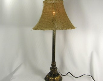 Lamp Shade Custom Double Tan Layered Burlap Bell Hand Made in NYC