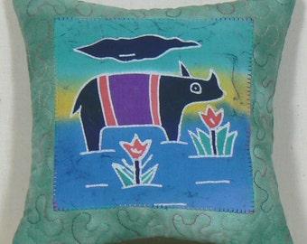 Nursery Pillow Toy, Appliqued Toy Pillow, Indonesian Batik, Baby Animal Pillow, Batik Applique, Nursery Soft Toy, Crib Pillow, Mini Pillow