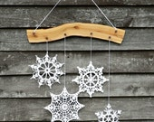 Holiday decor - white crochet snowflakes and wood ornament for Christmas decor