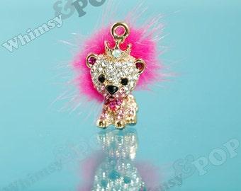 1 - 3D Royal King Rhinestone Pink Kitty Cat Lion Diamante Gold Charm, Lion Charm, 29mm x 20mm (3-5E)