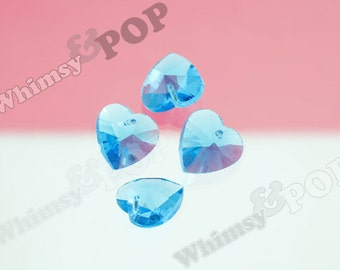 10 - Blue Heart Multi-Faceted Glass Crystal Beads, Glass Heart Beads, 14mm (R8-055)