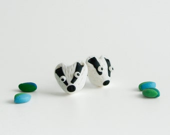 Badger post Earrings - Cute animal jewelry in polymer clay - Fun spring creatures