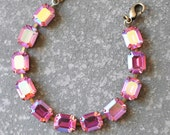Pink Aurora Borealis Bracelet Swarovski Crystal Rose Pastel Rainbow Northern Lights Rectangle Rhinestone Bracelet Adjustable