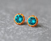 Teal Earrings Swarovski Crystal Teal Peacock Blue Tangerine Orange Rhinestone Studs Sugar Sparklers Small Mashugana
