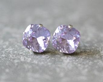 Lavender Earrings Rounded Square Swarovski Crystal French Purple Square Stud Earrings Mashugana