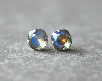 Gray Rainbow Earrings Swarovski Crystal Grey Mist Square Stud Earrings Rounded Square Mashugana