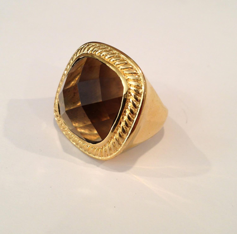 vintage smoky topaz estate jewelry ring