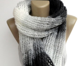 Knitted Scarf // Black and White // Knit Scarf // Shawl Scarf // Women Scarves // Winter Scarf // Women Accessories // Gifts For Her // Gift