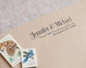 Custom return address stamp SERIF SCRIPT DESIGN with wood handle - calligraphy stamp adress stamp - wedding stamp