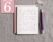 Thank you cards - letterpress thank you cards pink You are so sweet - baby shower boxed set of 6