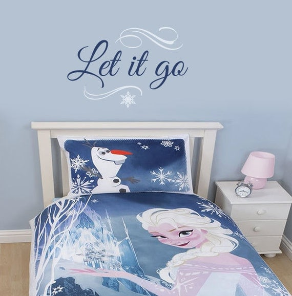 Frozen inspired wall decal let it go by wildgreenrose on etsy for Want to decorate my bedroom