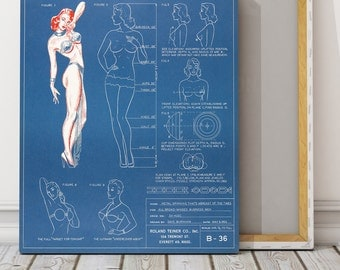 Vintage Blueprint Bra Fashion Lingerie Stretched CANVAS Print Antique Pinup Girl Art Deco Poster Nude Wall Hanging Home Decor