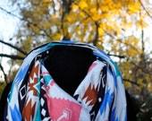 Tribal print Native American Black Brown Pink Blue Cream Cotton infinity Scarf Cowl Neck Jersey Knit Arrows