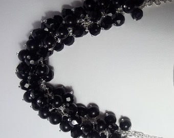 Black Pearl and Crystal Necklace Bridesmaid Jewelry, Christmas Gift, Chunky Necklace Wedding Jewelry Silver Necklace