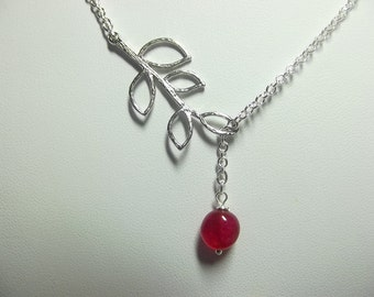 Cherry Quartz Leaf Necklace, Mothers Day Necklace Gifts, Mom Sister Jewelry, Lariat Necklace, Silver Necklace