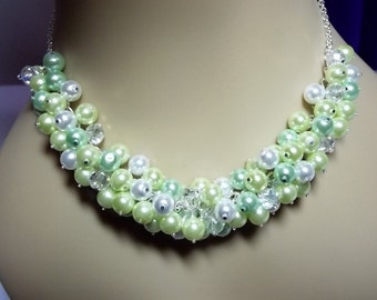 Pearl and Crystal Cluster Necklace, Greens and White, Spring, Mothers Day Gift, Mom Sister Grandmother Jewelry, Cocktail, Party, Pretty