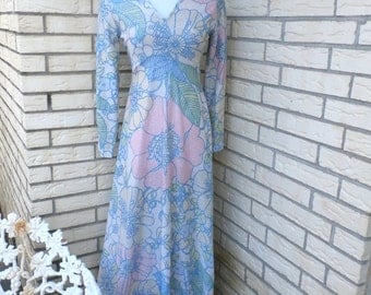 1980s Metallic Gown Womens Maxi Dress Pastel Flowers V Neck Long Formal Womens Vintage Small