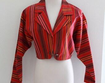 1980's Bolero Jacket Southwest Bohemian Red Stripes Colorful Womens Vintage Small