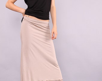 LEDA beige long A line cut skirt with two layers