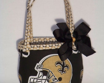 Saints Reversible Purse / Removable Bow / Saints Baby / Black / Gold / Baby / Girl / Toddler / Handmade / Custom Boutique Clothing