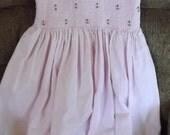 1/2 price Sale, Handmade 3T pink flowered smocked corduroy dress, 100% cotton,