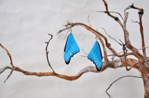 Cramer's Blue Morpho Butterfly Wings Earrings - Carved Walnut Hardwood & Hand Painted - 14 Karat Gold Filled Findings
