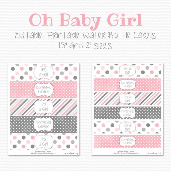 Items similar to water bottle labels pink and grey girl for Baby shower label template for favors