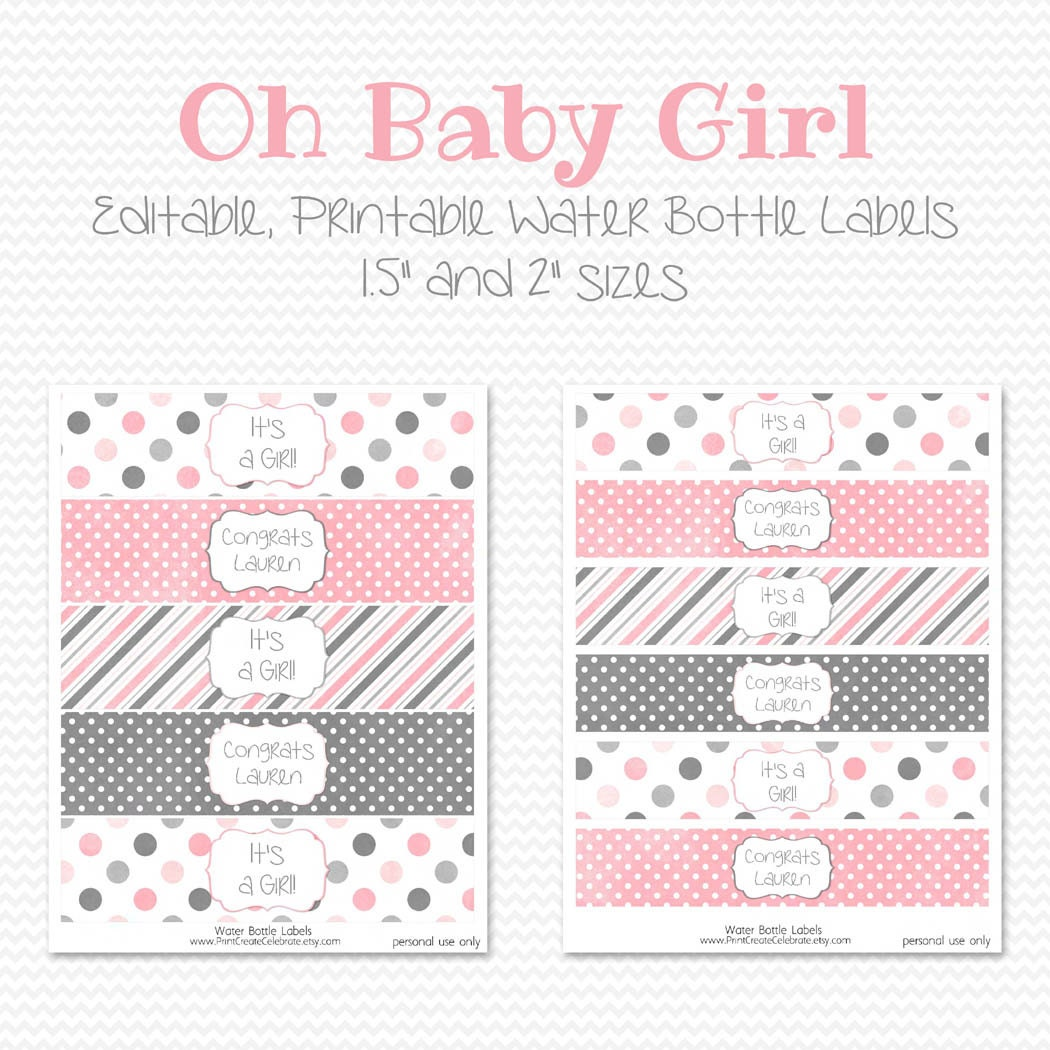 baby shower label template for favors - water bottle labels pink and grey girl baby shower decor