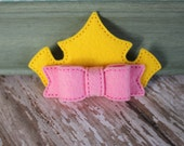 Sleeping Beauty Inspired Crown Hair Bow- Embroidered Wool Felt