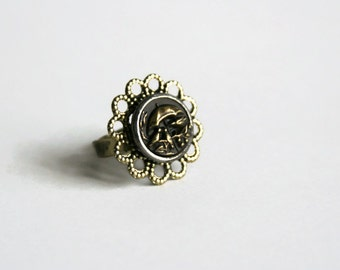 Umbrella Ring Rain Umbrella Ring filigree ring - made with a vintage button