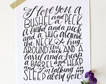 INSTANT DOWNLOAD - Bushel and a Peck, 2nd Edition - Hand Lettered Design by Mandy England