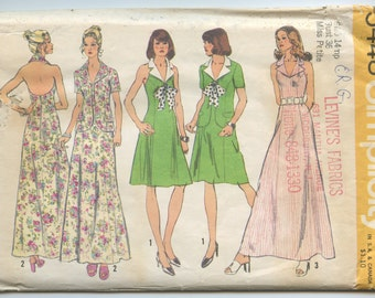 1970s Simplicity 5448 Halter-Dress in Two Lengths and Jacket Vintage Sewing Pattern Bust 36