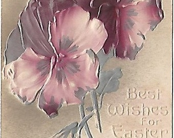 Heavily Embossed Pansy Pansies Easter Greetings Vintage Postcard 1909