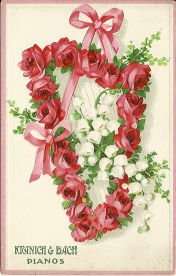 Advertisement for Kranich & Bach Pianos Vintage Postcards Harp Covered in bright Pink Roses Lily Of The Valley Pink Bow Early 1900's