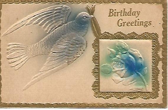 1911  Beautiful Blue Bird Birthday Greeting Antique Embossed Postcard Airbrushed
