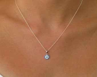 Petite Evil Eye Necklace with CZ Accents