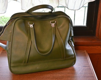 Green American Tourister Carry - On Bag, Amelia Earheart style bag, vintage green luggage
