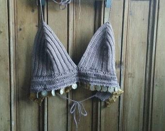 Crochet bralet top coffee brown boho festival clothing coins vest cropped strap halter neck bralette tops boho folk Dolly Topsy Etsy UK