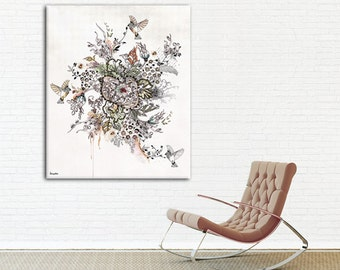 Canvas Abstract Painting, Contemporary Art Print, Original Art, Watercolors and Ink Painting