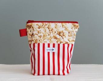 Reusable popcorn bag, sandwich bag, reusable snack bag, ecofriendly, zippered, ProCare lined - Popcorn