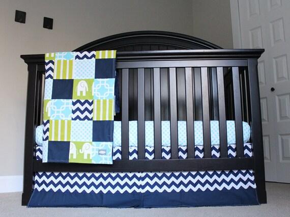 Items similar to crib bedding set navy blue green - Navy blue and green bedding ...