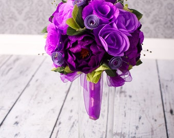 Bridal Bouquet - PAPER Wedding Bouquet - Handmade Purple Peony Paper Flowers