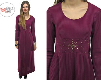 Vintage 70s Ribbed Dress, Disco Dress, Knit Dress, Plum Party Dress ΔΔ  sm / md