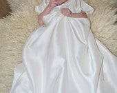 SALE Silk Dupion Christening Dress and cotton slip Hand Embroidered