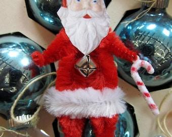 RETRO SANTA CLAUS Vintage Style Chenille Christmas Ornaments~ Pair of 2 ~ Old World Charm & Nostalgia!