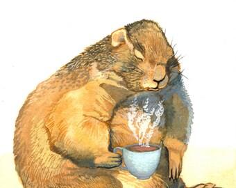 Prairie Dog Art - Cute Animal Art - Art Print of Original Watercolor Painting