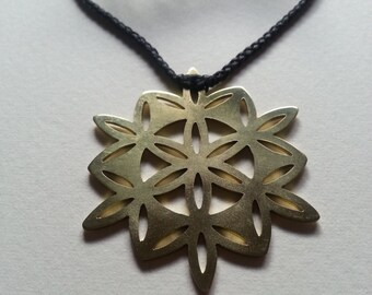 Flower of Life Pendant - Brass Symbols range - Geometry - Handcrafted