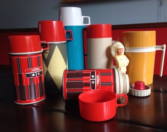 Vintage Thermos Collection Summertime Roadtrips and Camping Retro Decor Thermos and Aladdin Brands